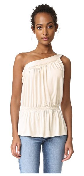 Ella Moss one shoulder tank in natural - Smocked elastic nips the waist on this goddess-inspired...