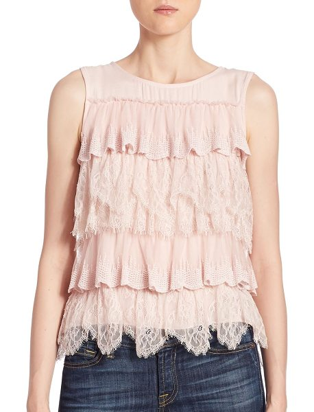 Ella Moss polina layered lace top in ballet - Lovely layered lace and ruffles charm this feminine top....