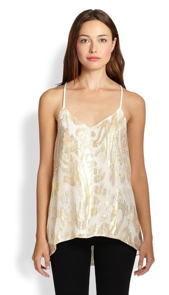 ELLA MOSS Reina metallic paisley-patterned tank - This modern, flowing tank takes on a regal air of...