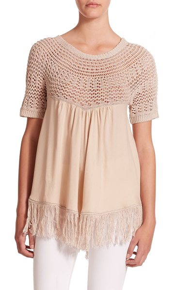 Ella Moss Sabrina knit & woven top in shell - An airy open knit tops this beautiful Empire design,...
