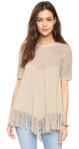 Ella Moss Sabrina sweater in shell - An airy Ella Moss top with an open knit yoke and fringed...