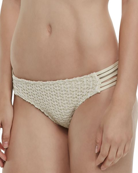 Ella Moss Strappy-side crochet swim bottom in cream - Ella Moss Swim crochet bottom with microfiber backing....
