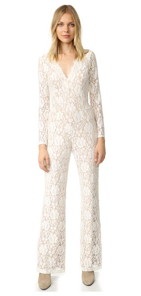 Ella Moss trello lace jumpsuit in natural - A romantic Ella Moss jumpsuit in floral lace. Double-V...