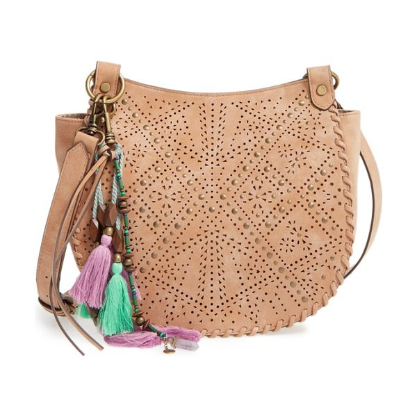 ELLE & JAE GYPSET faux leather shoulder/crossbody bag - Whipstitched trim and antiqued studs amplify the vintage...