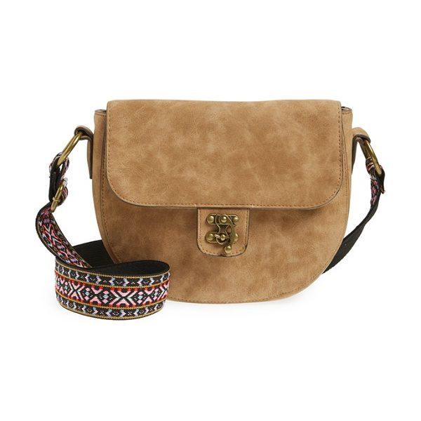 Elle & Jae Gypset Marrakesh faux suede crossbody bag in sable - A vibrantly embroidered guitar strap and antiqued...