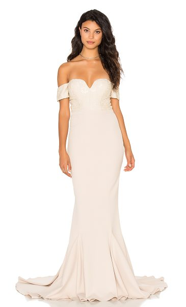 Elle Zeitoune Annabella Gown in beige - Poly/Polyamide blend. Hand wash cold. Partially lined....