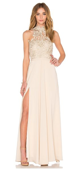 Elle Zeitoune Cary Dress in beige - Poly blend. Hand wash cold. Fully lined. Lace bodice....