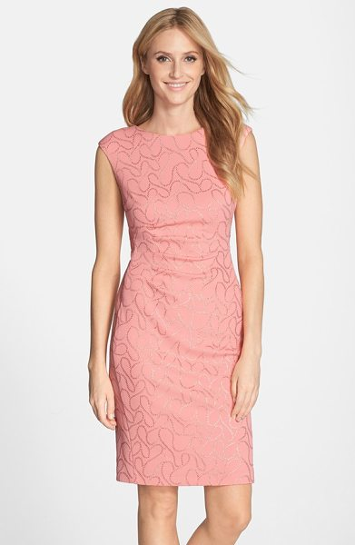 Ellen Tracy gilded knit sheath dress in coral - Tiny golden beads swirl all over a lovely knit sheath...
