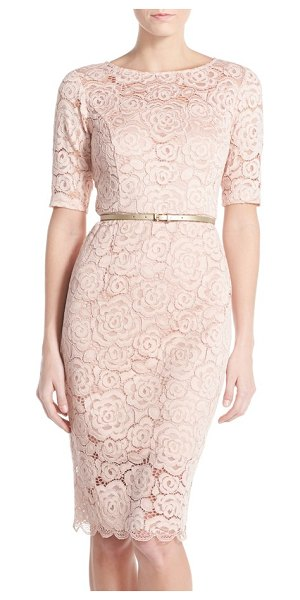 Ellen Tracy petite   belted lace sheath dress in blush - Corded floral lace finely textures this pencil-cut dress...