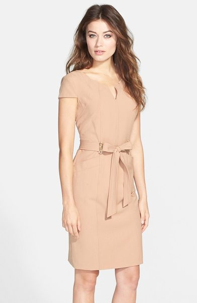 Ellen Tracy belted stretch sheath dress in champagne - An architectural neckline, glinting chain details and...