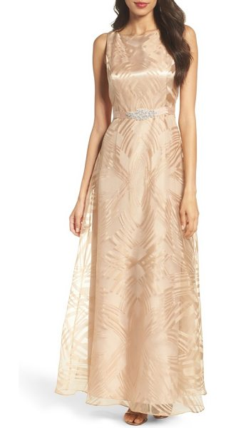 Ellen Tracy embellished burnout gown in gold - Geometric burnout patterns smarten the radiant organza...