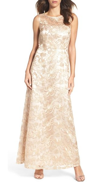 Ellen Tracy embellished mesh gown in champagne - Corded embroidery and sequins shimmer over this soft and...