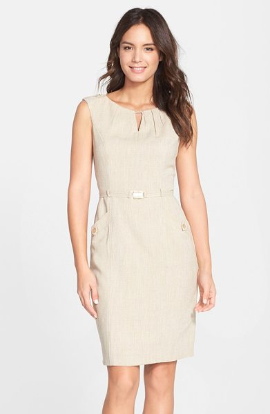 Ellen Tracy kenya belted woven sheath dress in khaki - A shallow keyhole draws the eye up to the pleated...