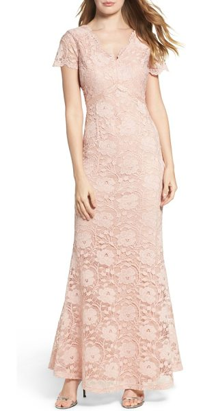 Ellen Tracy lace gown in blush - The jewel-tone lace of this airy, ageless gown looks all...