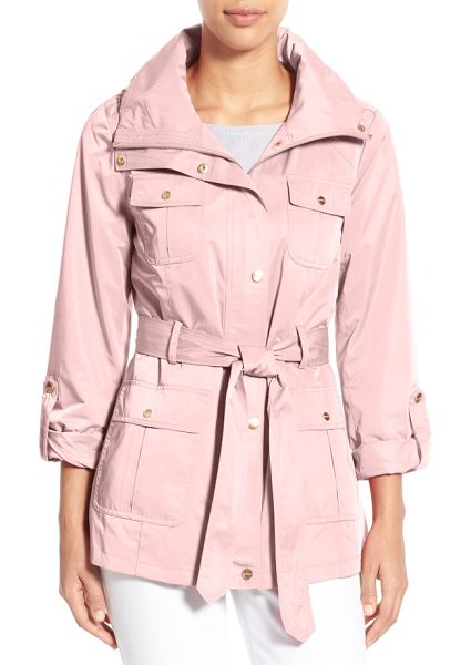 Ellen Tracy techno short trench coat in blush - A lustrous, water-resistant techno fabrication adds...