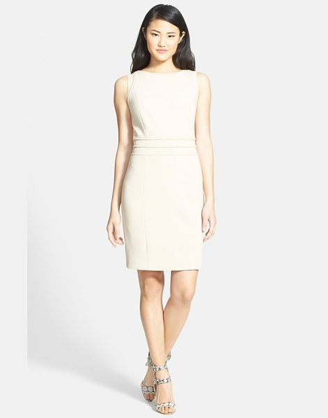 Ellen Tracy piped seam detail sheath dress in fawn - Tonal piping subtly accentuates the slender waist and...