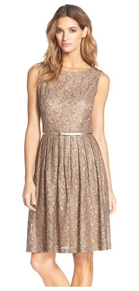 Ellen Tracy pleated lace fit & flare dress in champagne - A fitted bodice transitions into a swingy pintuck skirt...