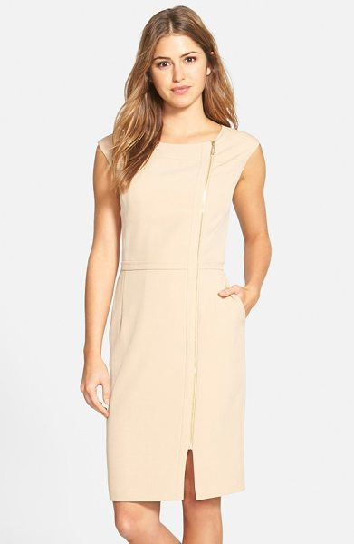 Ellen Tracy zip detail sheath dress in champagne - A gleaming exposed zipper travels from the round...