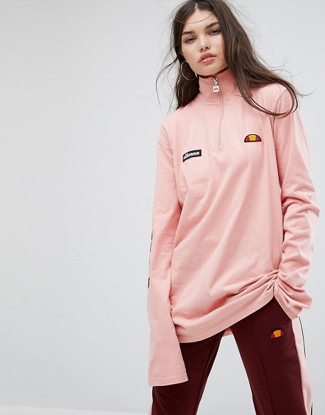 Ellesse Long Sleeve Top With High Half Zip Neck And Sleeve Logo in pink - Top by ellesse, Soft-touch jersey, High neck, Zip front,...