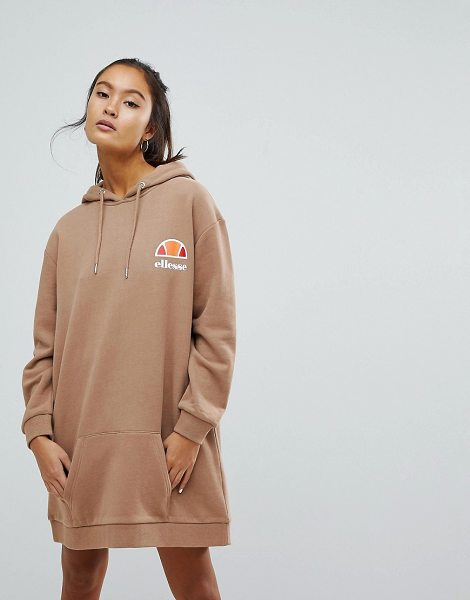 Ellesse Oversized Hoodie Dress With Washed Out Logo in tan - Dress by ellesse, Drawstring hood, Dropped shoulders,...