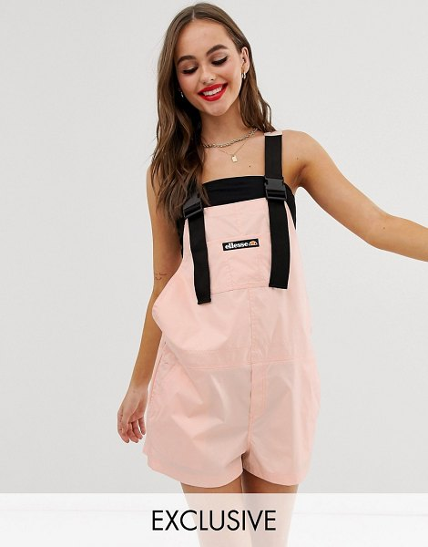 Ellesse recycled short overalls with buckle straps in blush