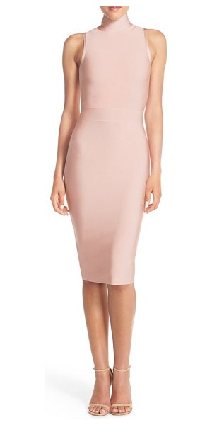 ELLIATT aura stretch midi body-con dress in blush - Thick, lustrous knit hugs and highlights your curves...