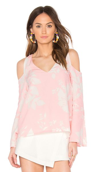 ELLIATT Enchanted Top in pink - Poly blend. Open shoulders. Flared sleeves. ELLI-WS48....
