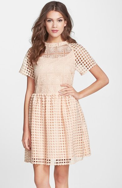 ELLIATT frame mixed grid lace fit & flare dress in peach