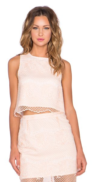 ELLIATT Mood lace top in peach - Nylon blend. Hand wash cold. Lace overlay with scalloped...