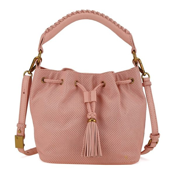Elliott Lucca Gigi bon bon leather bucket bag in apricot - Chic leather punctuates a must-have bucket bag styled...