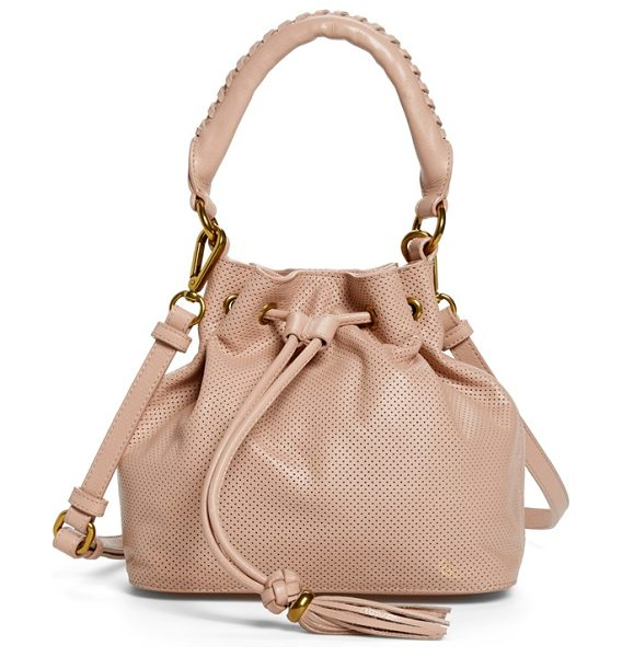 ELLIOTT LUCCA Gigi bon bon leather bucket bag in desert - Chic leather punctuates a must-have bucket bag styled...