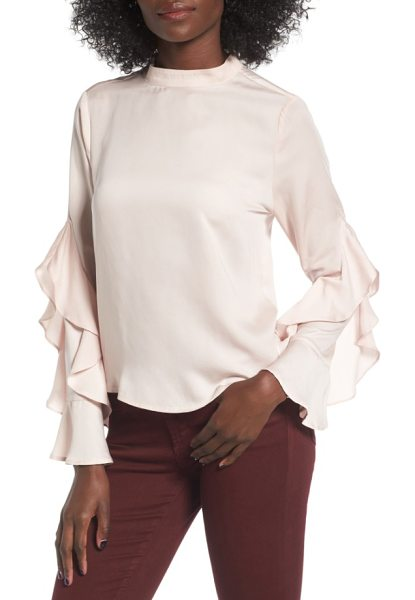 Elodie ruffle sleeve blouse in blush - Diaphanous ruffles add romantic volume and trendy style...