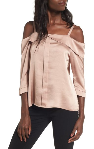 Elodie satin off the shoulder top in bronze - Faded, rose-hued satin adds sweet luster to a...