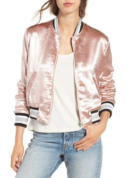 Elodie satin varsity jacket in blush - Ultra-luminous satin and a pretty blushed hue put a...