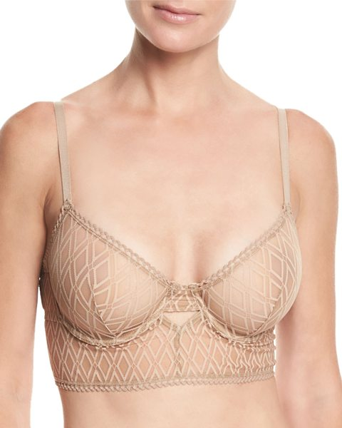 "ELSE Baklava Underwire Long-Line Bra - Else ""Baklava"" long-line bra in lace. Plunging V..."