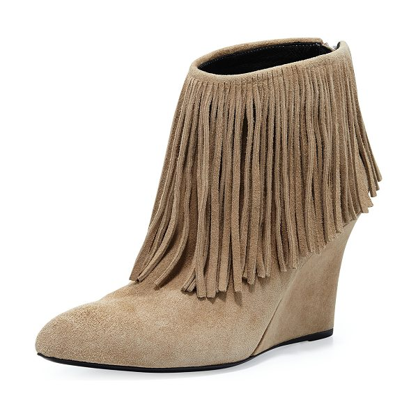 "Elyse Walker Los Angeles Fringed Suede Ankle Boot in taupe - elysewalker los angeles suede ankle boot. 3.5"" covered..."
