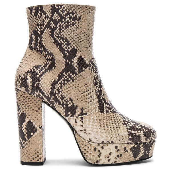 Elyse Walker Los Angeles Snakeskin Platform Booties in natural - Snakeskin embossed leather upper with leather sole. Made...
