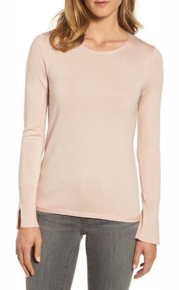 EMERSON ROSE cuff detail silk blend crewneck sweater - Extended vented cuffs garnished with a trio of...