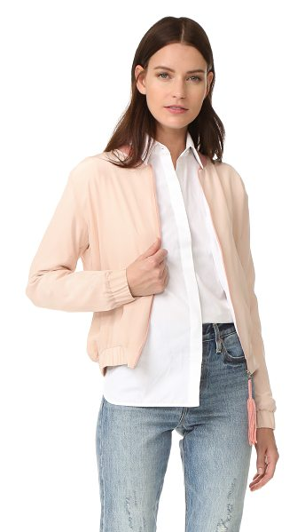 Emerson Thorpe elma silk bomber jacket in blush - A silk Emerson Thorpe bomber jacket with cinched elastic...