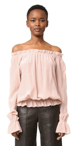 Emerson Thorpe faye off shoulder blouse in blush - A lightweight off-shoulder Emerson Thorpe blouse....