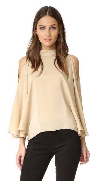 Emerson Thorpe mali silk top in champagne - Dramatic batwing sleeves drape gracefully to the elbow...
