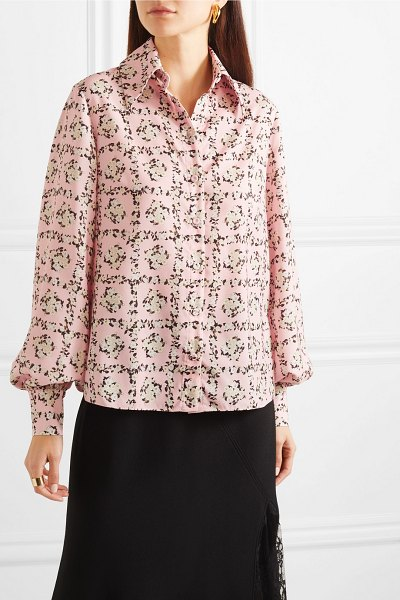 Emilia Wickstead petula floral-print crepe de chine shirt in baby pink