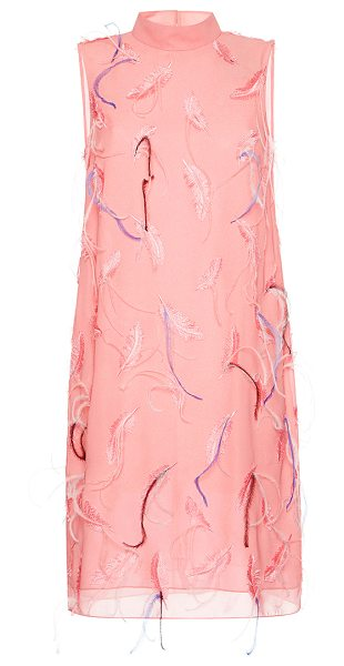 Emilio Pucci Feather Embroidered Shift Dress in pink