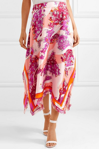 Emilio Pucci fringed printed silk-twill midi skirt in pink - Emilio Pucci uses fabrics that are easily packable, so...