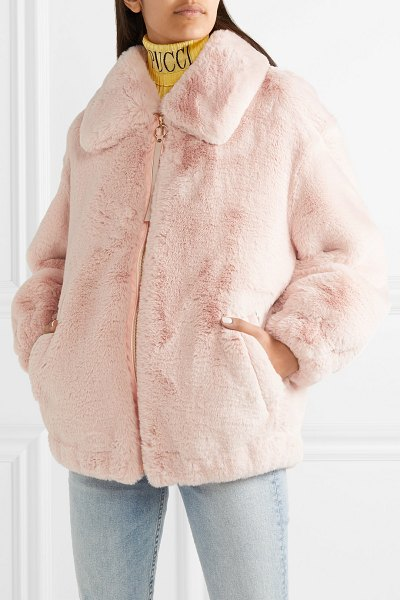 Emilio Pucci oversized faux fur jacket in pink - Emilio Pucci's plush pastel-pink faux fur jacket is one...
