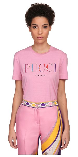 Emilio Pucci Pucci print cotton jersey t-shirt in pink