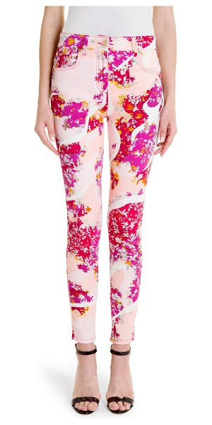 Emilio Pucci skinny leg print jeans in pink orange floridian - Classic five-pocket jeans get a seasonal update with a...