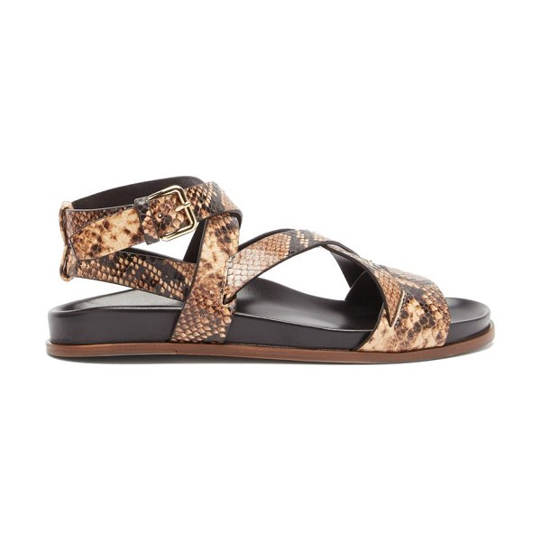 EMME PARSONS bodhi python-print leather crossover sandals in brown multi