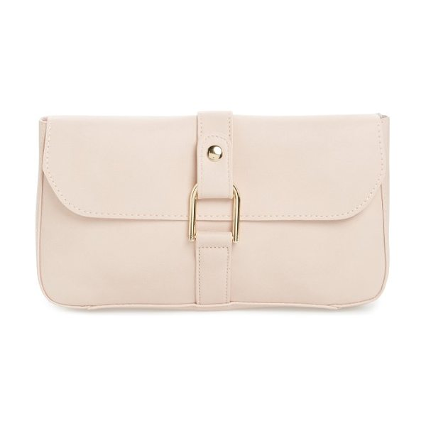 Emperia faux leather lock clutch in blush - Sleek U-lock hardware supplies modern polish to this...