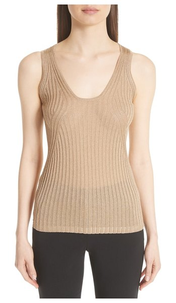 Emporio Armani metallic rib knit tank in metallic - Engineered ribbing creates a flattering,...